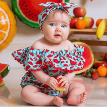 Bebê recém-nascido roupas da menina fora do ombro melancia impressão plissado borla macacão bandana 2pcs roupas