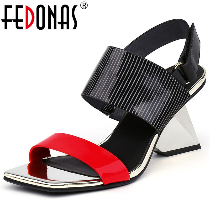 FEDONAS Summer Newest Genuine Leather Women Sandals Concise Strap Buckle Super High Heels Sexy Party Night Club Shoes Woman