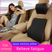 Universal Car Pillow Pu Leather Neck Headrest Pillow Cushion Fiber Car Seat Pillow Reposacabeza Coche Poggiatesta Nekkussen Auto