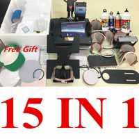15 en 1 Combo muntifonctionnel Sublimation presse à chaud Machine t-shirt transfert de chaleur imprimante pour tasse/casquette/football/bouteille/stylo/chaussure