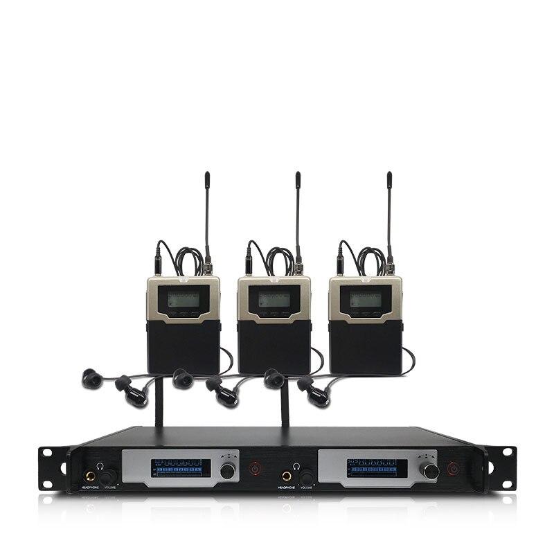 Profesjonalny bezprzewodowy system monitorowania dousznego 2 kanały 4 monitory bodypack, z bezprzewodowym monitoringiem dousznym na scenę