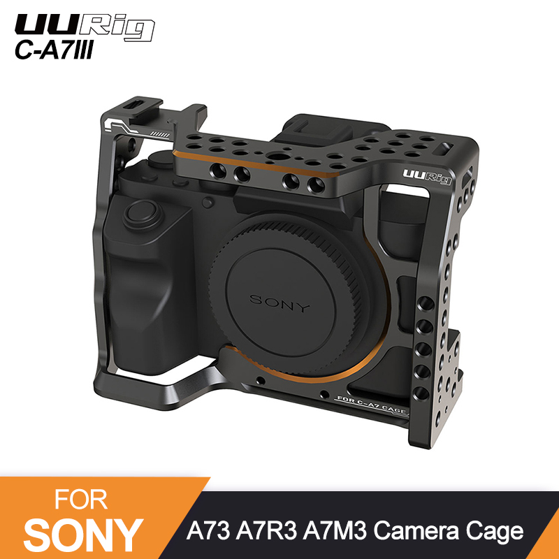 UURig C-A7III Camera Cage For Sony A73 A7R3 A7M3 Standard Arca Quick Release Plate W Top Handle Grip Cold Shoe Mount DSRL Camera