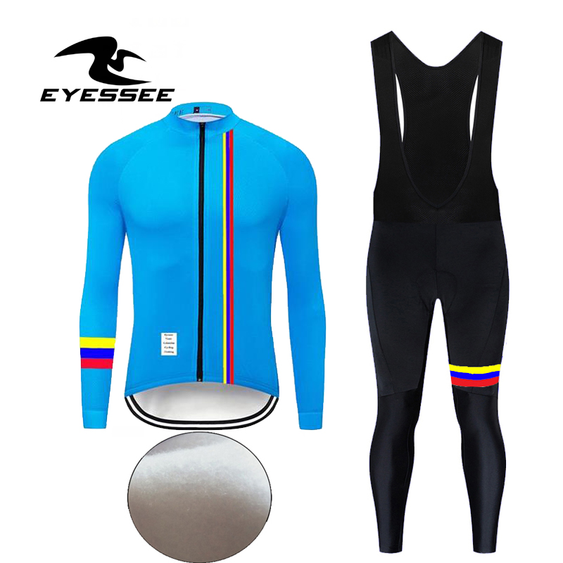 Winter Thermal Long Sleeve Cycling Jersey Set 3 Colors Fleece Colombia Bicycle Clothing Eyessee Team Fleece Cycling Clothes