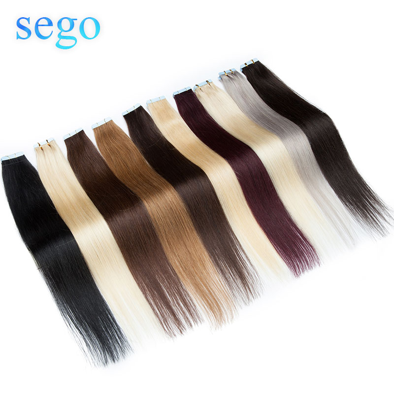 "SEGO12""-24""10P 20P Skin Weft Human Hair Straight Tape In Human Hair Extension Non-Remy Hair Double Sided Tape In Hair Extensios"