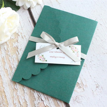 Classic dark green invitations Christmas cards lace rural personalize gift card 50pcs
