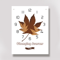 Maple leaf Rectangle Acrylic Creative Flower Wall Clock Girl Living Room Wall Clocks Home Decoration Modern Hanging Clocks