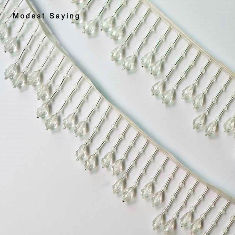 10 Yards Ivory 6cm Crystal Fringe Trim Ribbon Sewing Beaded Tassel Fringe Trimming Latin Dress Drama Evening Garment Accessories