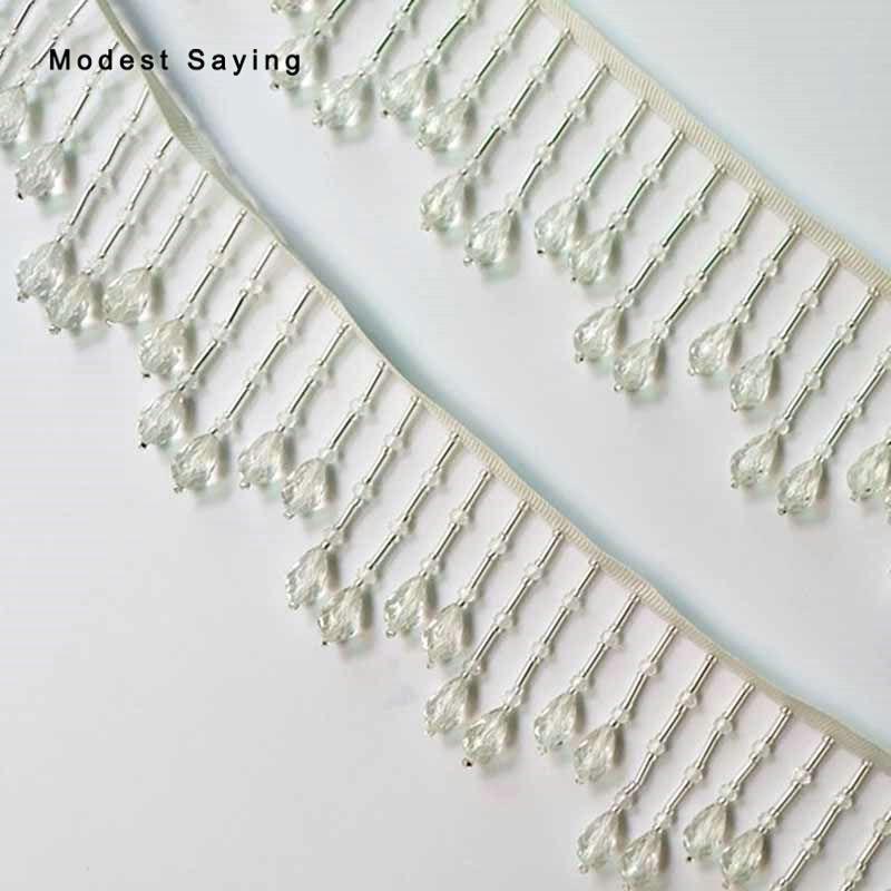 10 Yards Ivory 6cm Crystal Fringe Trim Ribbon Sewing Beaded Tassel Fringe Trimming Latin Dress Drama Evening Garment Accessories