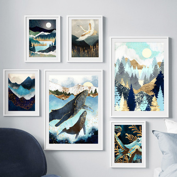 Mountain Sea Forest Whale Abstract Landscape Wall Art Canvas Painting Nordic Posters Prints Wall Pictures For Living Room Decor blue sky snow mountain forest landscape wall art canvas painting nordic posters and prints wall pictures for living room decor