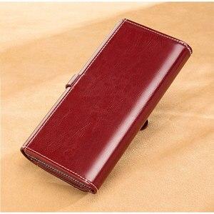 Image 2 - Luxury Design Vintage Oil Wax Women Genuine Leather Wallet Long Large Capacity Clutch Purse Ladies Bag Tri fold Phone Money Clip