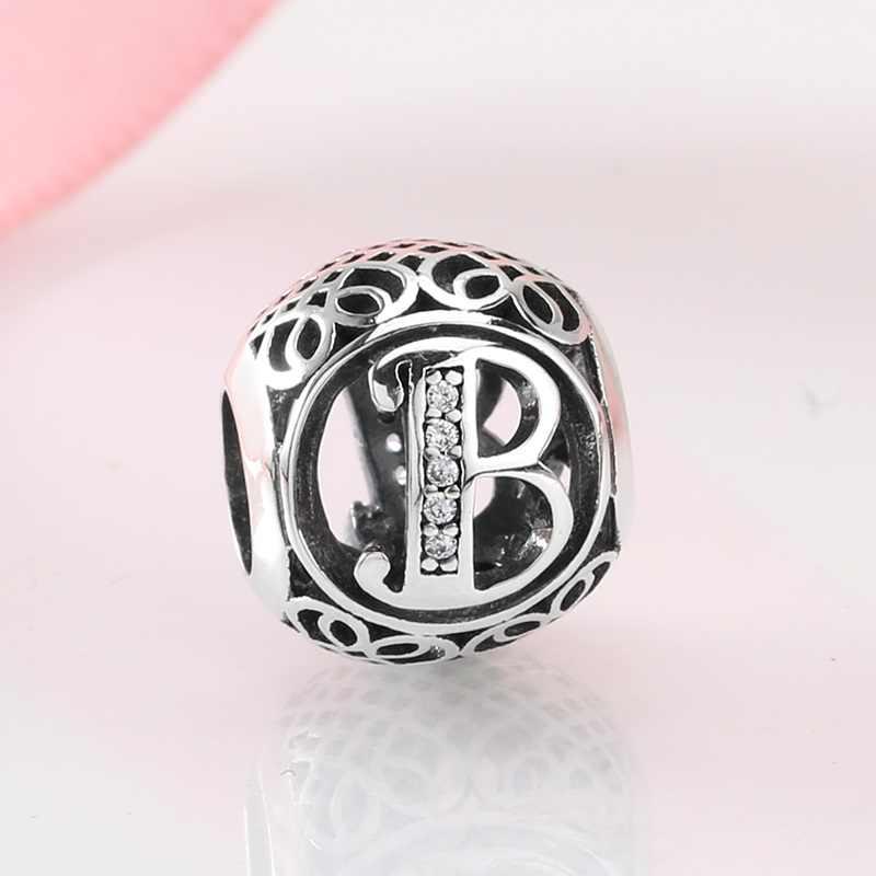 925 prata esterlina oco contas carta a z moda acessórios das mulheres caber original pandora encantos pulseiras jóias fazendo