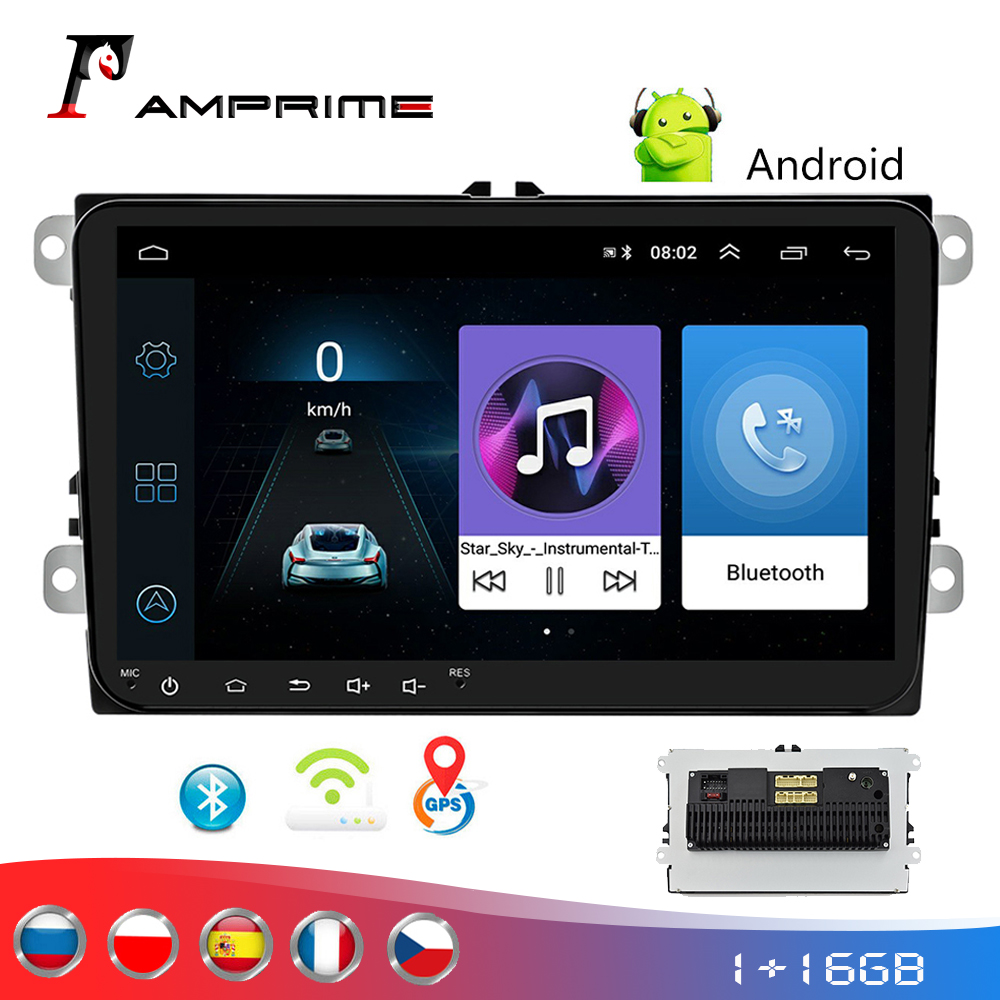 AMPrime Car Android 2 Din radio GPS <font><b>multimedia</b></font> for <font><b>Volkswagen</b></font> Skoda Octavia <font><b>golf</b></font> 5 <font><b>6</b></font> touran passat B6 polo tiguan yeti rapid image