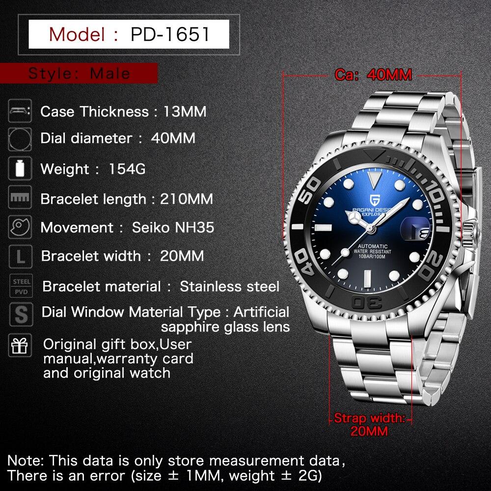 PAGANI Design Men Automatic Watch Sapphire Luxury Mechanical Wristwatch Stainless Steel Waterproof Watch Men relogio masculino 2