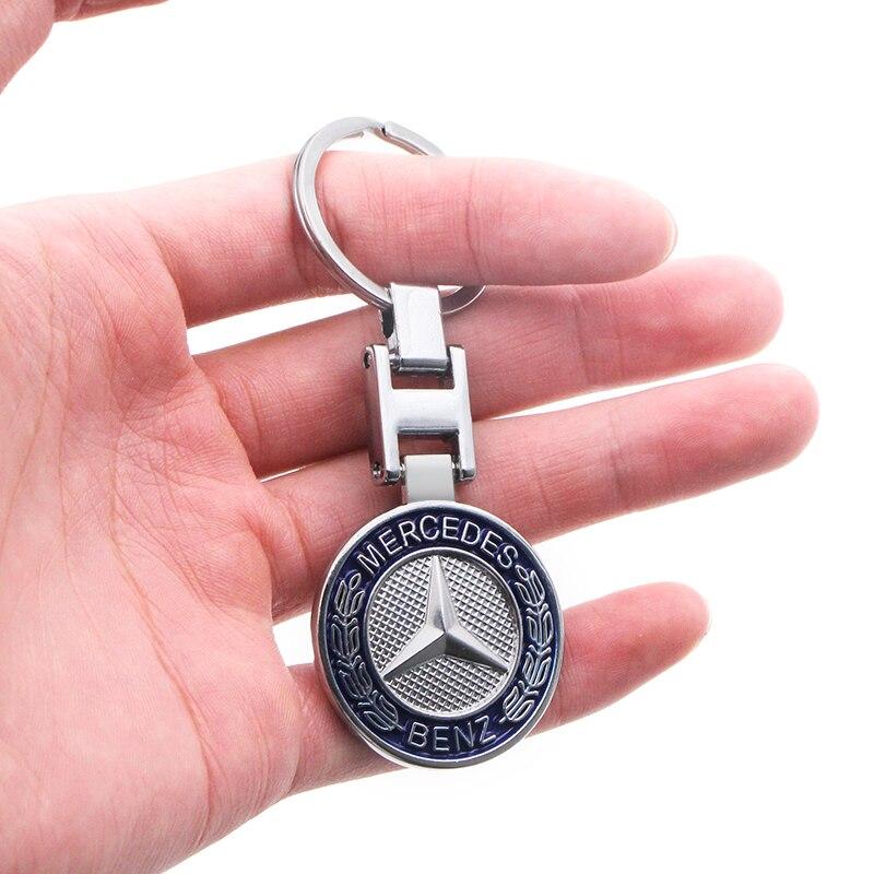 1pcs Car Styling Car Keychain Creative Double-sided Epoxy Metal Key Ring For Mercedes Benz A B R G Class GLK GLA C200 E200 C200L