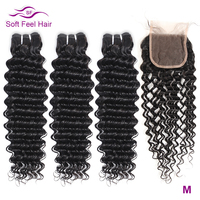 Soft Feel Hair Deep Wave Bundles With Closure Brazilian Hair Weave Bundles With Closure Remy Human Hair 3/4 Bundles With Closure