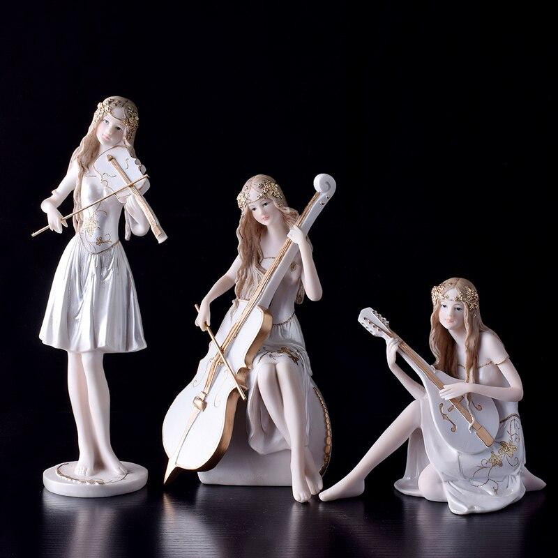 Beauté européenne jouant de la musique fille Piano décoration pour violoncelle joueurs fée jardin miniatures figurines salon décor à la maison