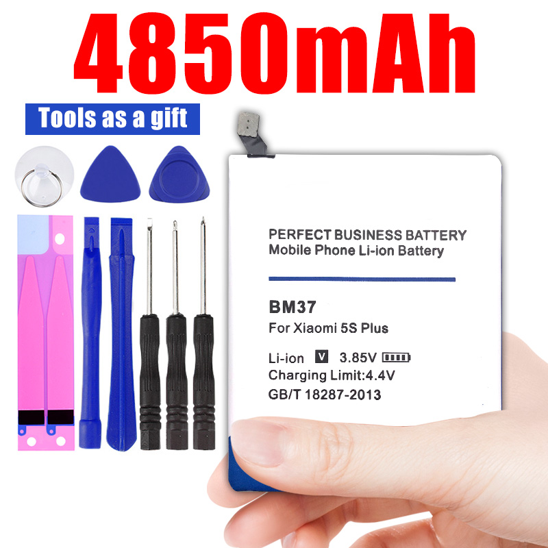 BM37 4850mAh Mobile Phone Rechargeable <font><b>Batteries</b></font> for Xiaomi <font><b>Mi</b></font> <font><b>5S</b></font> plus <font><b>Battery</b></font> Mi5s Plus Replacement <font><b>battery</b></font> image