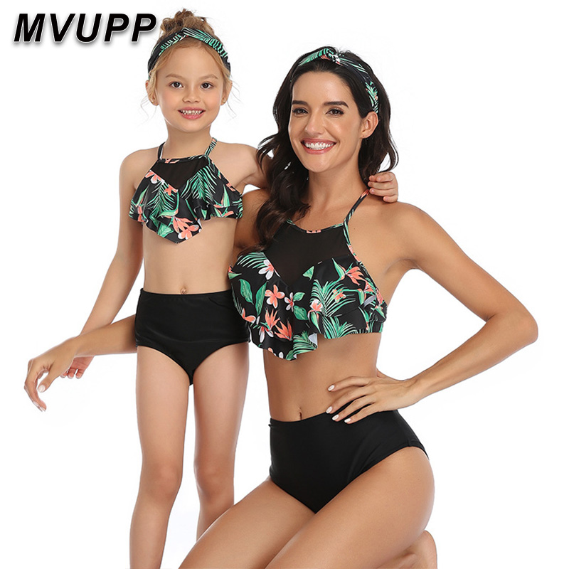 Family Swimsuit Mommy And Me Clothes Bikini Beach Shorts Mother Daughter Swimwear Baby Girl And Mom Outfits Family Maching Look