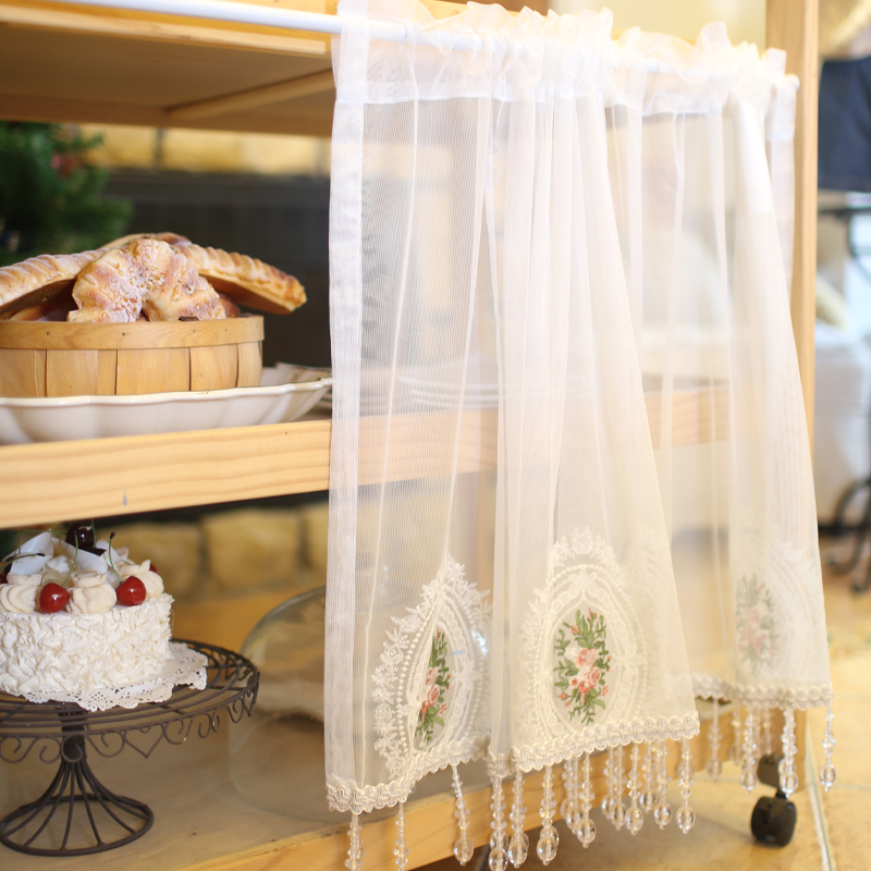 European Rose Embroidery Crystal Beads Fringed Short Curtain American Country White Lace Curtain For Kitchen Window Decor 021#4