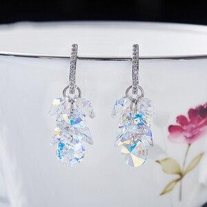 Image 4 - MALANDA New 925 Sterling Silver Long Drop Earrings Crystal From Swarovski Dangle Earrings For Women Luxury Personality Jewelry