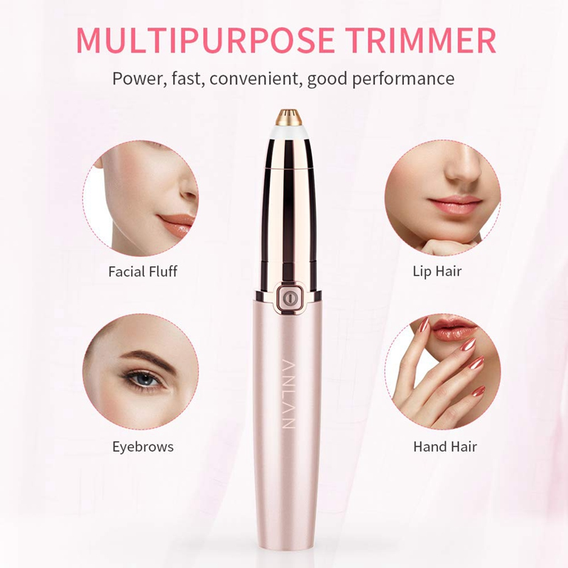 ANLAN Electric Eyebrow Trimmer Makeup Painless Eye Brow Epilator Mini Shaver Razors Portable Facial Hair Remover Women depilator 3