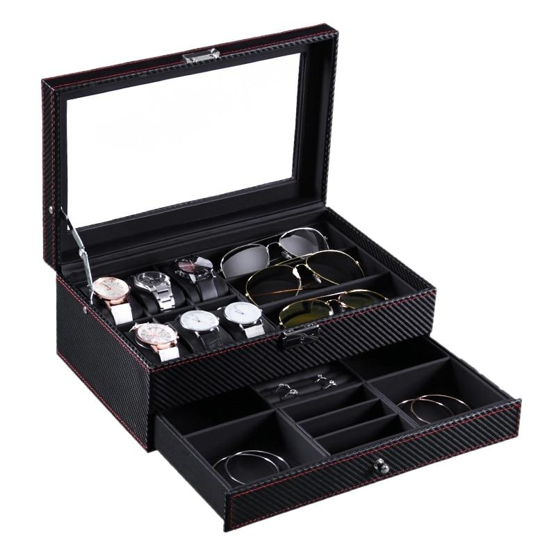 Double-Layer Watch Storage Box Jewelry Glasses Display Box Jewelry Storage Box Watch Storage Box