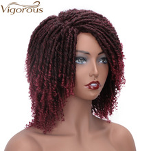 Vigorous Short Synthetic Wigs for Women 6 Inch Soft Dreadlocks Hair Wig Curly Ends Faux Locs Ombre Black Bug Crochet Braids