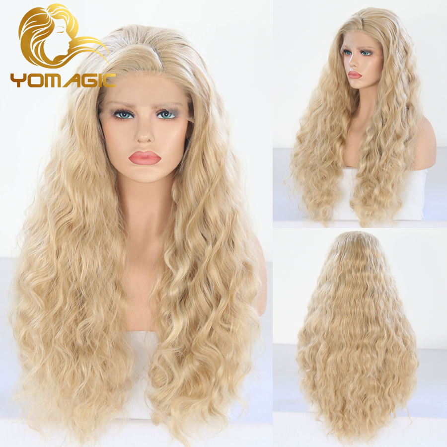 Yomagic Blonde Color Lace Front Wigs With Baby Hair Deep Wave Synthetic Hair Glueless Lace Wigs With Natural Hairline