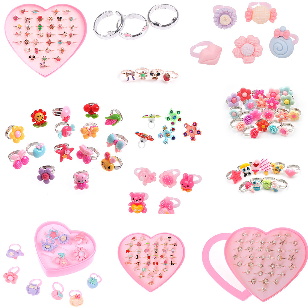 1/2/5/6/10Pcs/lot Cute Adjustable Cartoon Rings For Girls Dress Up Accessories Party Kids DIY Craft Toy Random Color
