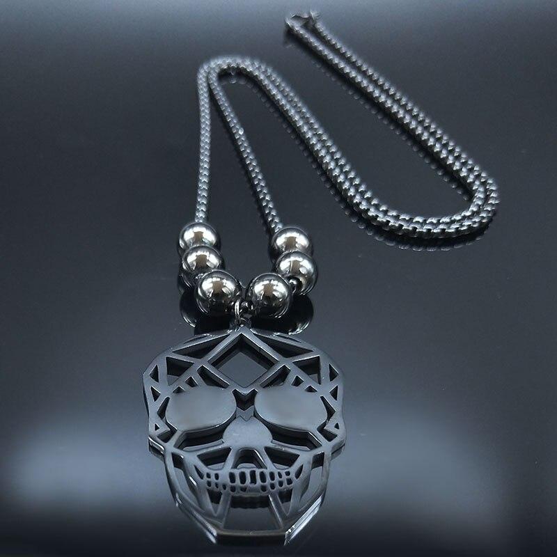 Collier tete de mort perle noir 2