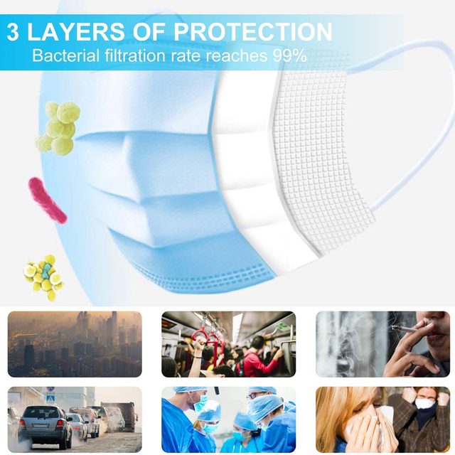 50Pcs Men Women Face Mask Melt-Blown Filter Cloth Disposable Masks Anti Flu Dust Formaldehyde Bad Smell Protective Mask 1