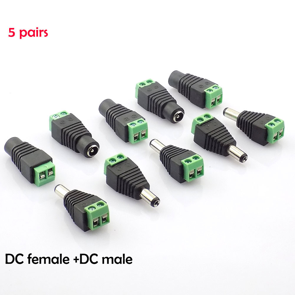 5 Pair DC Power Male Jack Plug And DC Female Connector Plug Adapter BNC UTP For CCTV Camera Power Supply Led Strips Light K09