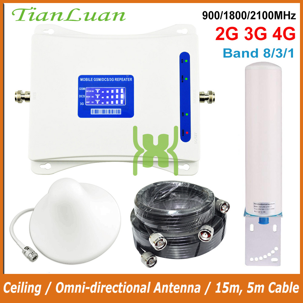 Mobile Phone Signal Repeater GSM 900MHz W-CDMA UMTS HSPA 2100MHz DCS 1800MHz LTE Cellular Signal Booster 2G 3G 4G 900 2100 1800