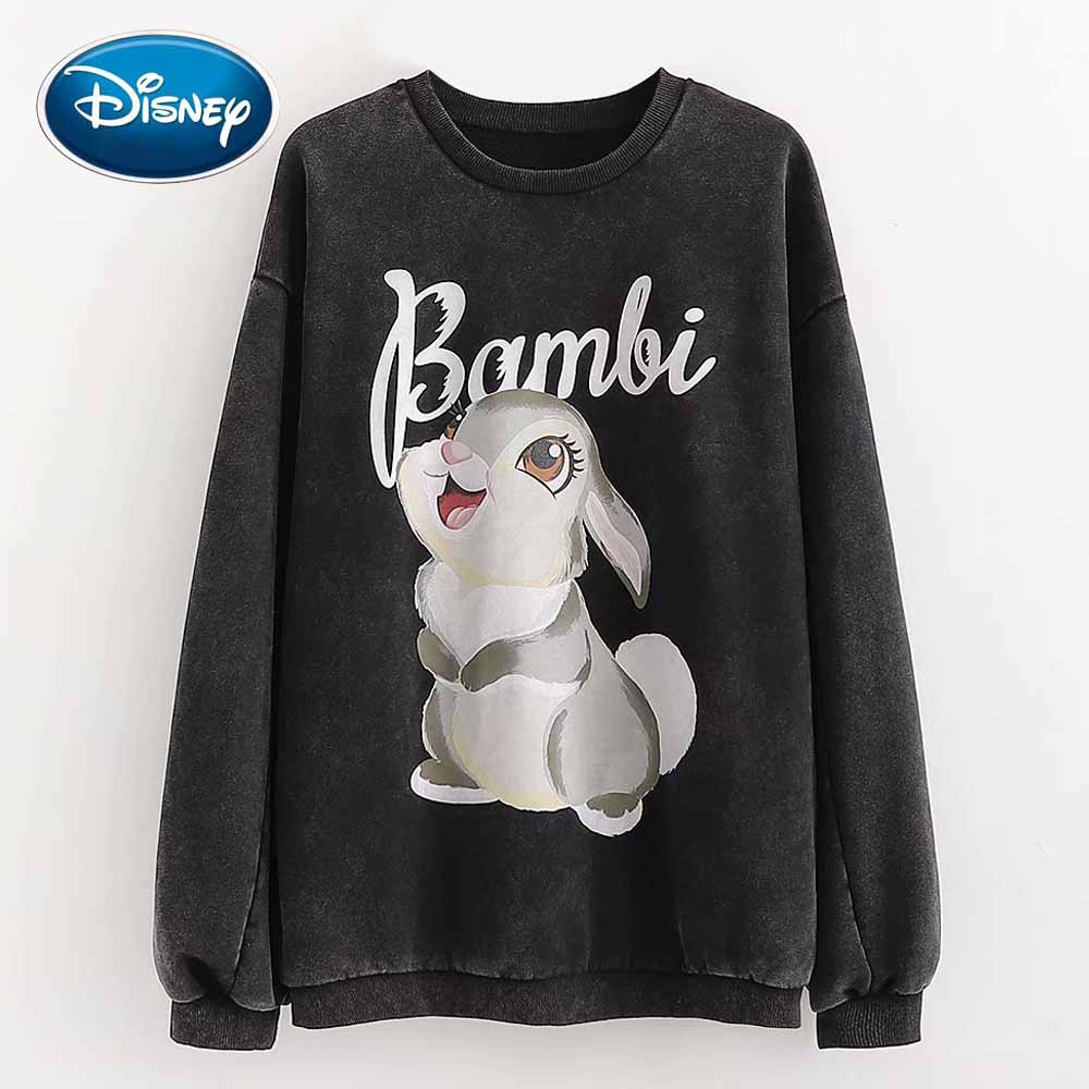 Disney Stylish Rabbit Cartoon Bambi Letter Print O-Neck Pullover Fleece Women T-Shirt Long Sleeve Fashion Casual Loose Tops