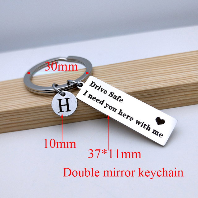 Engraved Drive Safe A-Z 26 Initial Letters keyring Titanium Mirror Keychain For Couples Women Men Boyfriend Husband Gift Key Fob 3