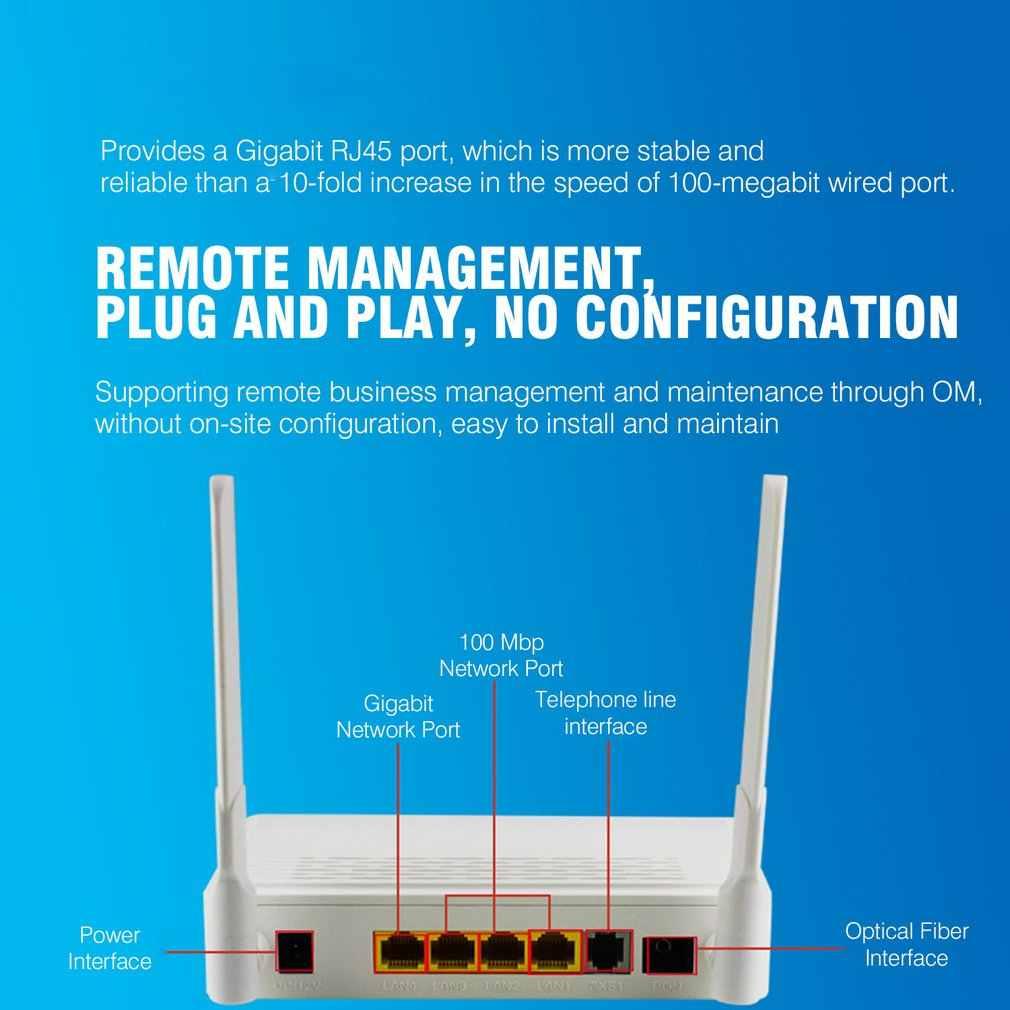4 ポート EPON ONU ターミナル 1G3F + WIFI FTTH モードに適用ミニ光ファイバモデムルータファームウェア EU プラス