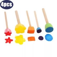 5pcs Kids Toddler Sponge Stamp Brush Kits Flower Drawing Toys For Children Paint Educational Art And Craft Creativity Boys Girls