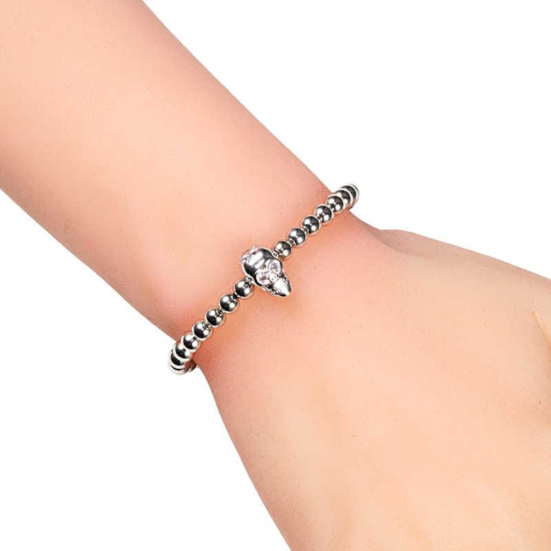 Skull Head Charm Mannen Armband Hematiet Koperen Kralen Handgemaakte Verstelbare Armbanden Pave Zirkoon Skelet Armband Minnaar Sieraden Gift