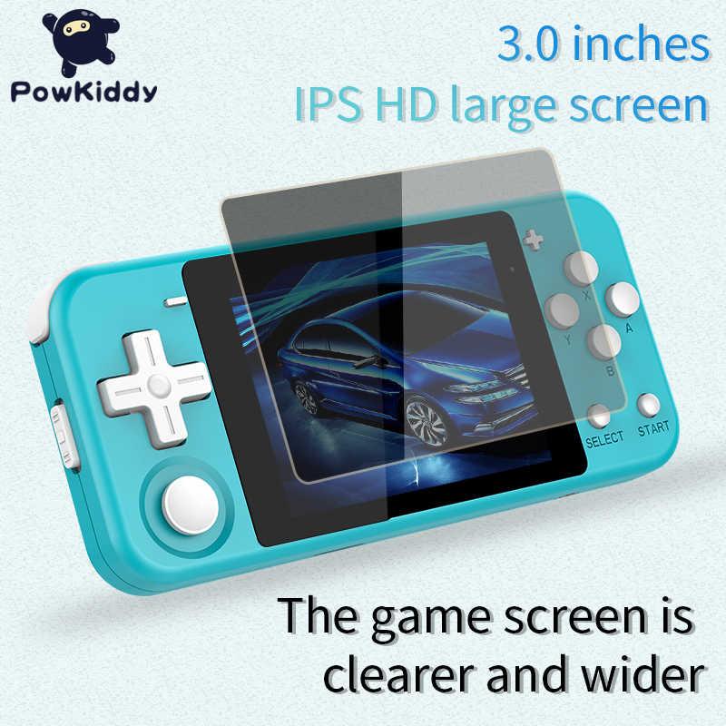 POWKIDDY Q90 3 بوصة IPS شاشة يده وحدة التحكم المزدوج نظام مفتوح لعبة وحدة 16 محاكاة ريترو PS1 الاطفال هدية ثلاثية الأبعاد ألعاب جديدة