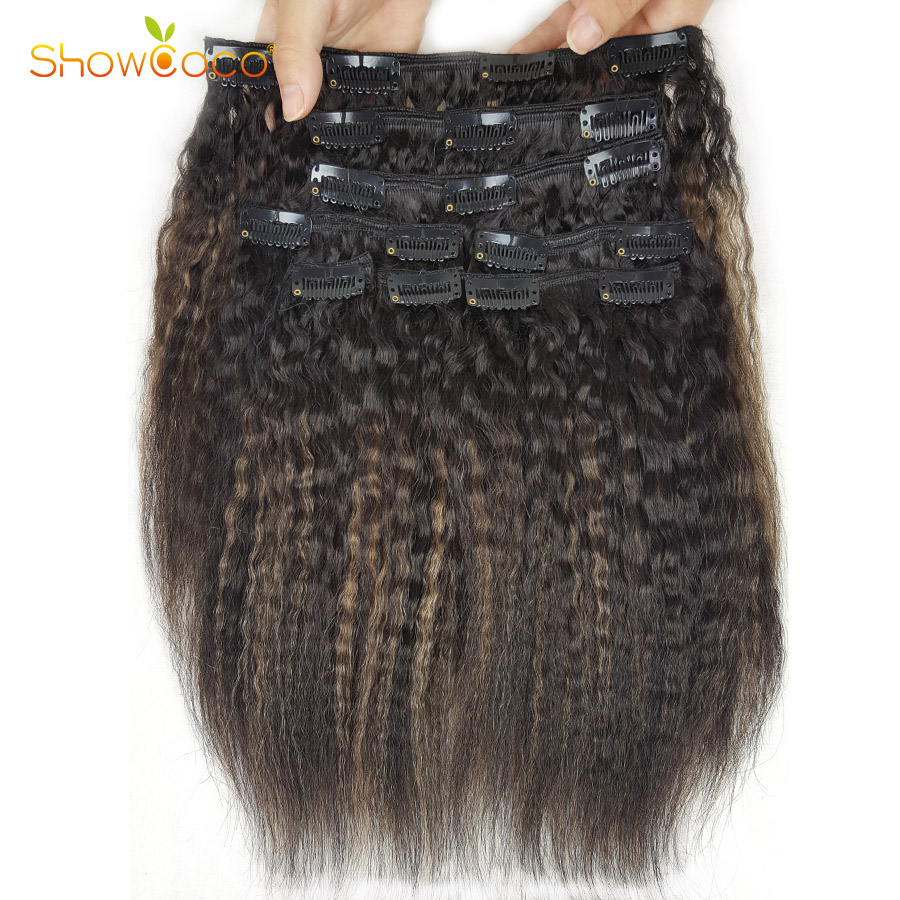 ShowCoco Natural Hair Clip Ins Kinky Straight Three Layer Wefts Machine-made Remy Real Human Hair Brazilian Clip In Extensions
