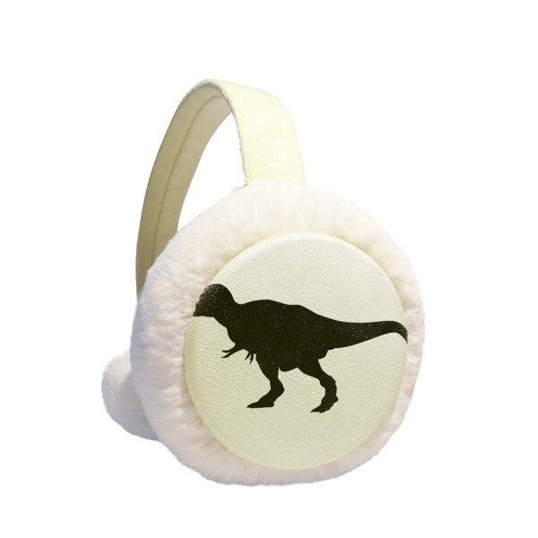 Dinosaur Bones Curly Silhouette Winter Earmuffs Ear Warmers Faux Fur Foldable Plush Outdoor Gift