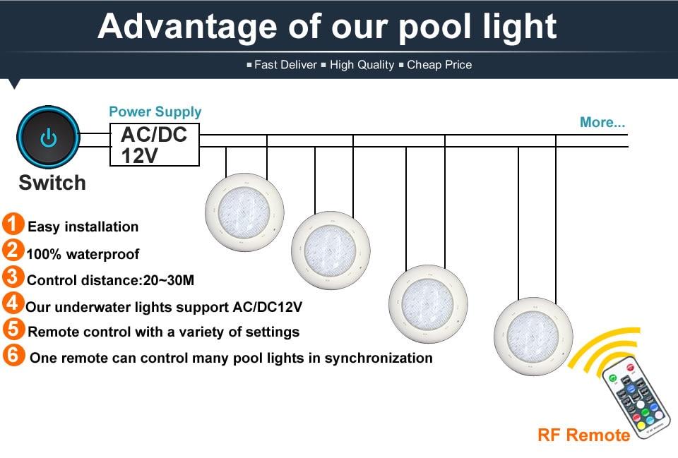 Ip68 led piscina luz 24 w 36
