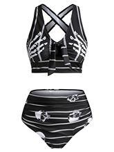 Wipalo – maillot de bain rayé et rembourré pour femmes, ensemble deux pièces, avec imprimé tête de mort, avec nœud, pour la plage, pour l'été