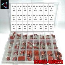 63V105-450V225 401pcs/box 24 Types 10nf-68nf 63V 100V 450V 1000V  CBB Metal Film Capacitors Assortment Kit