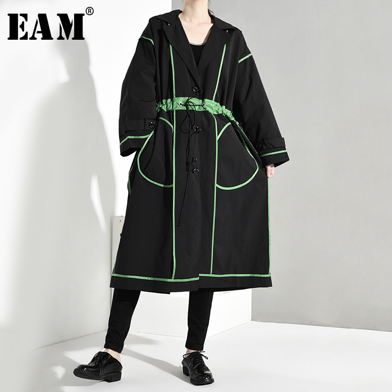 [EAM] Women Line Stitch Big Size Drawstring Trench New Lapel Long Sleeve Loose Fit Windbreaker Fashion Autumn Winter 2019 1B067