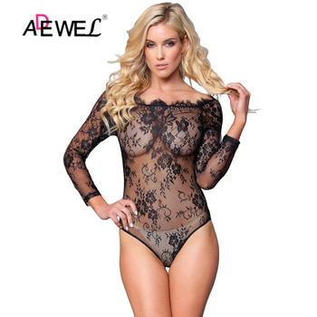ADEWEL Black Long Sleeve Embroidery Lace Bodysuit Women Transparent Sexy Mesh See Through Jumpsuit Club body mujer