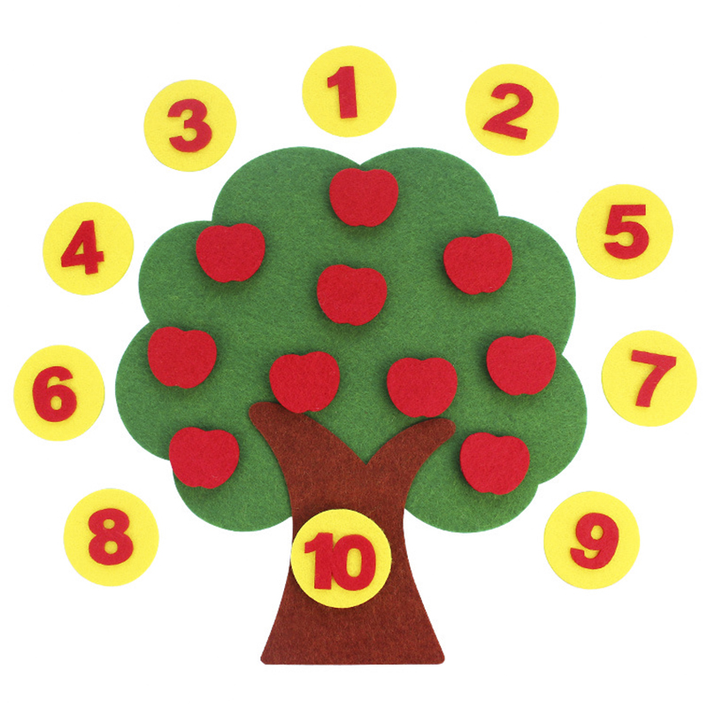 DIY Children's Handmade Toys Apple Tree Numbers Pairing Kindergarten Area Montessori Math Educational Toys Digital Sort Clock