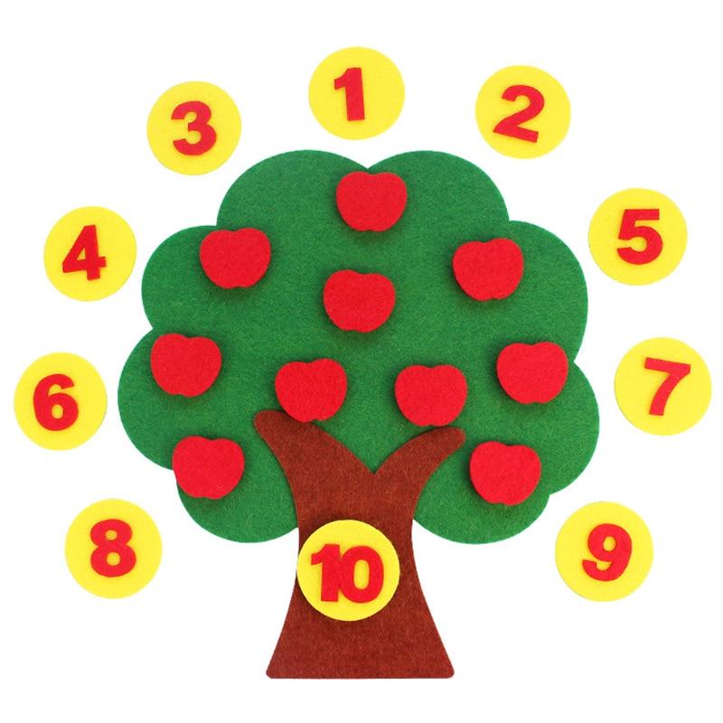 DIY Children's Handmade Toys Apple Tree Numbers Pairing Kindergarten Area Montessori Math Educational Toys Digital Sort Clock