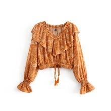Женская блуза с цветочным принтом v образным вырезом и расклешенными