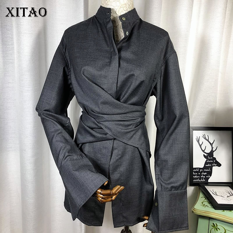 [XITAO] 2018 New Autumn Korea Casual Women Solid Color Single Breasted Shirts Female Full Sleeve Stand Collar Blouses KZH1929